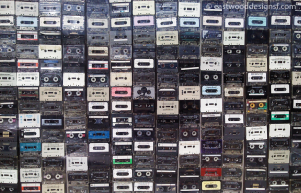 Cassettes in a window