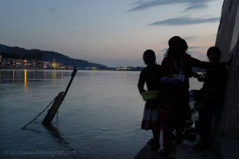 Rishikesh, India, sundown on the Ganga river